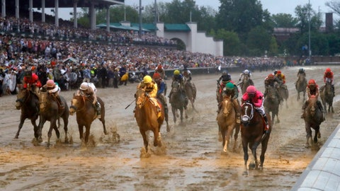 <p>               Luis Saez rides Maximum Security across the finish line first followed by Flavien Prat on Country House during the 145th running of the Kentucky Derby horse race at Churchill Downs Saturday, May 4, 2019, in Louisville, Ky. Country House was declared the winner after Maximum Security was disqualified following a review by race stewards. (AP Photo/Matt Slocum)             </p>