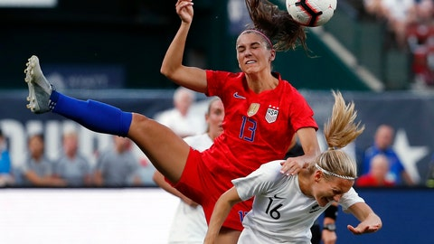 <p>               United States' Alex Morgan (13) and New Zealand's Katie Duncan (16) vie for the ball during the first half of an international friendly soccer match Thursday, May 16, 2019, in St. Louis. (AP Photo/Jeff Roberson)             </p>