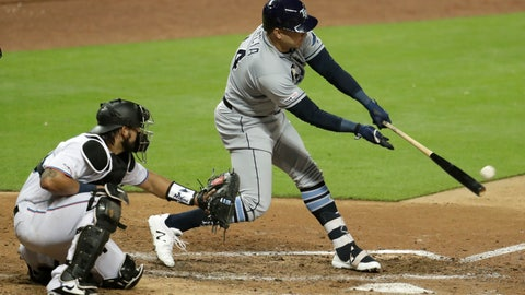 <p>               Tampa Bay Rays' Avisail Garcia, right, hits a RBI single to score Tommy Pham in the sixth inning during a baseball game, Tuesday, May 14, 2019, in Miami. At left is Miami Marlins catcher Jorge Alfaro. (AP Photo/Lynne Sladky)             </p>