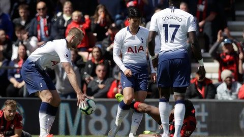 <p>               Tottenham's Son Heung-Min, center, scuffles with Bournemouth's Jefferson Lerma, on the ground, during the English Premier League soccer match between AFC Bournemouth and Tottenham Hotspur at the Vitality Stadium in Bournemouth, England, Saturday May 4, 2019. Son was shown a red card by Referee Craig Pawson. (AP Photo/Matt Dunham)             </p>