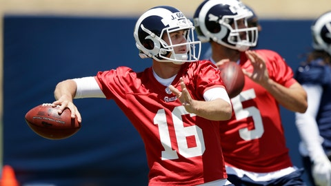 <p>               Los Angeles Rams quarterbacks Jared Goff (16) and Blake Bortles (5) go through drills during an NFL football training camp Tuesday, May 28, 2019, in Thousand Oaks, Calif. (AP Photo/Marcio Jose Sanchez)             </p>