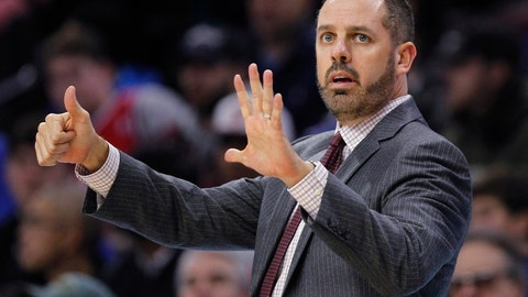 <p>               FILE - In this Nov. 25, 2017, file photo, Orlando Magic coach Frank Vogel signals from the sideline during the first half of the team's NBA basketball game against the Philadelphia 76ers in Philadelphia. A person familiar with the search says Vogel will be interviewed for the Lakers head coach opening. The 45-year old Vogel did not coach last season following two years with the Orlando Magic.(AP Photo/Laurence Kesterson, File)             </p>