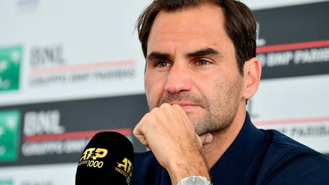 <p>               Switzerland's Roger Federer looks on during a press conference at the Italian Open tennis tournament, in Rome, Italy, Tuesday, May 14, 2019. (Ettore Ferrari/ANSA via AP)             </p>