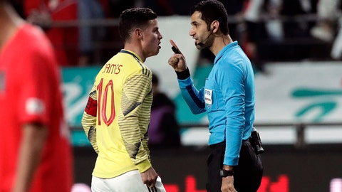<p>               FILE - In this March 26, 2019, file photo, Colombia's James Rodriguez argues with referee Abdulrahman Al Jassim during a friendly soccer match between South Korea and Colombia at Seoul World Cup Stadium in Seoul, South Korea. Abdulrahman Al Jassim, from Qatar which is the host of the 2022 World Cup, was selected as one of the 16 referees for this year's CONCACAF Gold Cup. (AP Photo/Lee Jin-man, File)             </p>