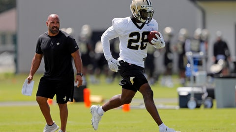 """<p>               FILE - In this May 23, 2019, file photo, New Orleans Saints running Latavius Murray runs through drills during the NFL football team's practice in Metairie, La. Murray doesn't see himself as a replacement for his friend and former offseason training partner, Mark Ingram--not that he can't appreciate why others might view him as such. """"Human nature for fans or anybody is to compare us, because obviously a very good running back leaves and we have to fill that void,"""" Murray said Thursday, May 30, after New Orleans completed its sixth full-squad voluntary practice of the offseason. (AP Photo/Gerald Herbert, File)             </p>"""
