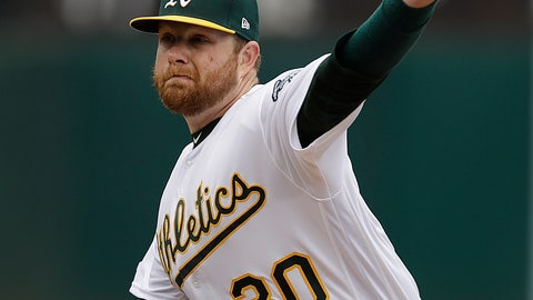 <p>               Oakland Athletics pitcher Brett Anderson works against the Seattle Mariners in the first inning of a baseball game Sunday, May 26, 2019, in Oakland, Calif. (AP Photo/Ben Margot)             </p>