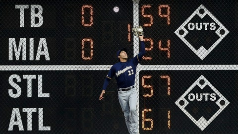 <p>               Milwaukee Brewers right fielder Christian Yelich catches a fly out by Philadelphia Phillies' Andrew McCutchen during the first inning of a baseball game, Tuesday, May 14, 2019, in Philadelphia. (AP Photo/Matt Slocum)             </p>