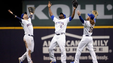 <p>               Milwaukee Brewers' Lorenzo Cain (6), Ben Gamel (16), and Ryan Braun celebrate the team's 3-1 win over the New York Mets in a baseball game Friday, May 3, 2019, in Milwaukee. (AP Photo/Aaron Gash)             </p>