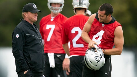 <p>               Oakland Raiders head coach Jon Gruen, left, confers with his quarterbacks Mike Glennon (7), Landry Jones (2) and Derek Carr (4) during an NFL football official team activity, Tuesday, May 21, 2019, at team headquarters in Alameda, Calif. (AP Photo/D. Ross Cameron)             </p>