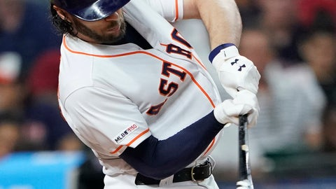 <p>               Houston Astros' Jake Marisnick grounds into a triple play during the third inning of the team's baseball game against the Chicago White Sox on Wednesday, May 22, 2019, in Houston. (AP Photo/David J. Phillip)             </p>