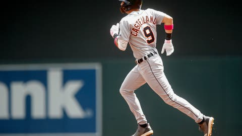 <p>               Detroit Tigers' Nicholas Castellanos runs the bases on a two-run home run off Minnesota Twins pitcher Martin Perez in the first inning of a baseball game Sunday, May 12, 2019, in Minneapolis. (AP Photo/Jim Mone)             </p>