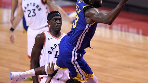<p>               Golden State Warriors forward Draymond Green (23) commits an offensive foul on Toronto Raptors guard Kyle Lowry (7) during the first half of Game 1 of basketball's NBA Finals, Thursday, May 30, 2019, in Toronto. (Frank gunn/The Canadian Press via AP)             </p>