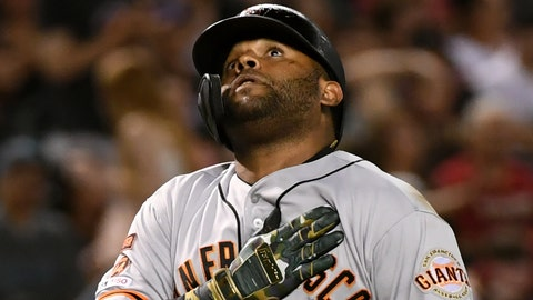 PHOENIX, ARIZONA - MAY 18: Pablo Sandoval #48 of the San Francisco Giants gestures after hitting a solo home run during the eighth inning against the Arizona Diamondbacks at Chase Field on May 18, 2019 in Phoenix, Arizona. (Photo by Norm Hall/Getty Images)