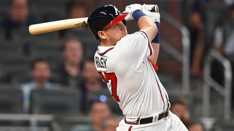 May 28, 2019; Atlanta, GA, USA; Atlanta Braves left fielder Austin Riley (27) hits a two run home run against the Washington Nationals during the eighth inning at SunTrust Park. Mandatory Credit: Dale Zanine-USA TODAY Sports
