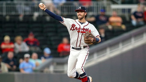 May 14, 2019; Atlanta, GA, USA; Atlanta Braves shortstop Dansby Swanson (7) throws a runner out at first base against the St. Louis Cardinals in the fifth inning at SunTrust Park. Mandatory Credit: Brett Davis-USA TODAY Sports