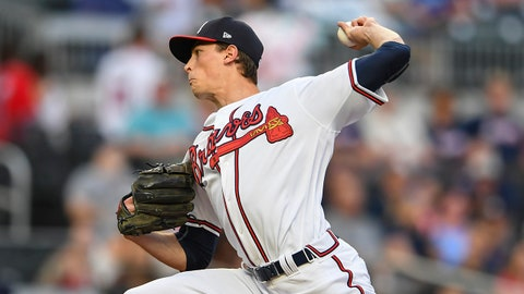 May 1, 2019; Cumberland, GA, USA; Atlanta Braves starting pitcher Max Fried (54) pitches against the San Diego Padres during the second inning at SunTrust Park. Mandatory Credit: Dale Zanine-USA TODAY Sports