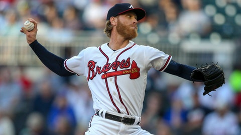 May 14, 2019; Atlanta, GA, USA; Atlanta Braves starting pitcher Mike Foltynewicz (26) throws against the St. Louis Cardinals in the first inning at SunTrust Park. Mandatory Credit: Brett Davis-USA TODAY Sports