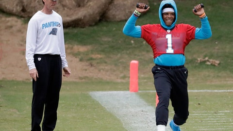 <p>               Carolina Panthers' Cam Newton (1) stretches on the sidelines as head trainer Ryan Vermillion watches during the NFL football team's practice in Charlotte, N.C., Wednesday, May 22, 2019. (AP Photo/Chuck Burton)             </p>