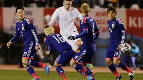 <p>               FILE- In this March 5, 2014, file photo, New Zealand's Tyler Boyd (7) and Japan's Hotaru Yamaguchi (16) compete for the ball during a Kirin Challenge Cup international friendly soccer match at the National Stadium in Tokyo. Boyd, a New Zealand-born forward and winger, has been approved by FIFA to switch affiliation to the United States. The 24-year-old Boyd has five goals and four assists in 13 games during the second half of this season for Ankaragucu in Turkey's top division.   (AP Photo/Shuji Kajiyama, File)             </p>