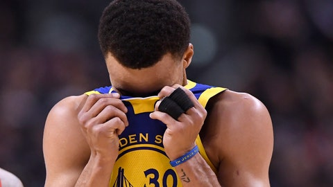 <p>               Golden State Warriors guard Stephen Curry (30) reacts during the second half of Game 1 of the team's basketball's NBA Finals against the Toronto Raptors on Thursday, May 30, 2019, in Toronto. (Frank Gunn/The Canadian Press via AP)             </p>