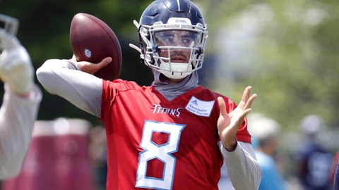 <p>               Tennessee Titans quarterback Marcus Mariota throws during an organized team activity at the Titans' NFL football training facility Tuesday, May 21, 2019, in Nashville, Tenn. (AP Photo/Mark Humphrey)             </p>