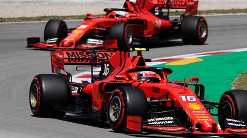 <p>               Ferrari driver Charles Leclerc of Monaco leads his teammate Ferrari driver Sebastian Vettel of Germany during the first free practice at the Barcelona Catalunya racetrack in Montmelo, just outside Barcelona, Spain, Friday, May 10, 2019. The Formula One race will take place on Sunday. (AP Photo/Manu Fernandez)             </p>
