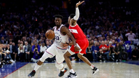 <p>               Philadelphia 76ers' Jimmy Butler, left, tries to get past Toronto Raptors' Patrick McCaw during the first half of Game 6 of a second-round NBA basketball playoff series Thursday, May 9, 2019, in Philadelphia. (AP Photo/Chris Szagola)             </p>