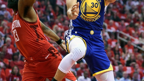 <p>               Golden State Warriors guard Stephen Curry (30) drives to the basket as Houston Rockets guard James Harden defends during the first half of Game 4 of a second-round NBA basketball playoff series, Monday, May 6, 2019, in Houston. (AP Photo/Eric Christian Smith)             </p>