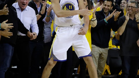 <p>               Golden State Warriors' Klay Thompson celebrates in front of fans during the second half of Game 5 of the team's second-round NBA basketball playoff series against the Houston Rockets on Wednesday, May 8, 2019, in Oakland, Calif. (AP Photo/Ben Margot)             </p>