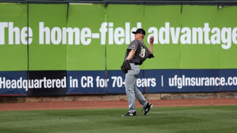 <p>               In this Monday, May 13, 2019 photo, Quad Cities River Bandits pitcher Austin Hansen throws in the outfield before a Class-A Midwest League baseball game against the Cedar Rapids Kernels in Cedar Rapids, Iowa. Quad Cities will play at least 40 of their first 43 games away from their home stadium Modern Woodmen Park because of water issues caused by flooding from the nearby Mississippi River. (AP Photo/Charlie Neibergall)             </p>