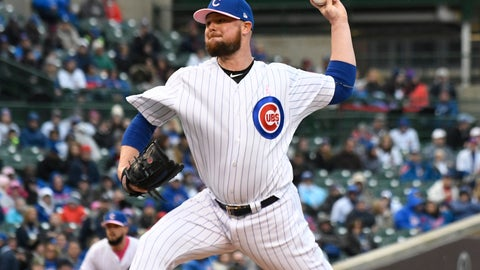 <p>               Chicago Cubs starting pitcher Jon Lester (34) throws the ball against the Milwaukee Brewers during the first inning of a baseball game, Sunday, May, 12, 2019, in Chicago. (AP Photo/David Banks)             </p>