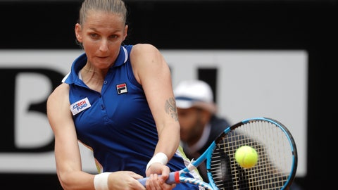 <p>               Karolina Pliskova, of the Czech Republic, returns a shot to Johanna Konta, of Britain during their final match at the Italian Open tennis tournament, in Rome, Sunday, May 19, 2019. (AP Photo/Gregorio Borgia)             </p>