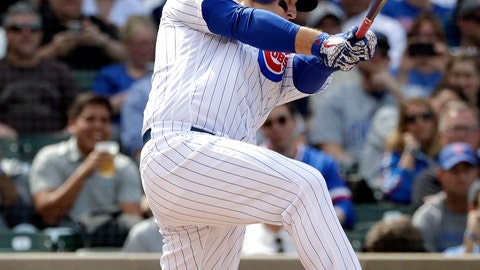 <p>               Chicago Cubs' Anthony Rizzo hits a two-run home run during the fifth inning of a baseball game against the Miami Marlins, Thursday, May 9, 2019, in Chicago. (AP Photo/Nam Y. Huh)             </p>