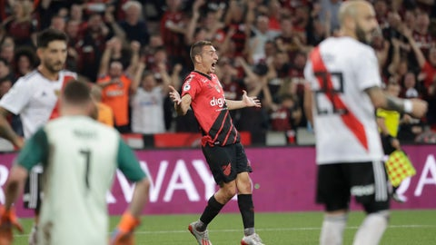 <p>               Marco Ruben of Brazil's Athletico Paranaense, center, celebrates after scoring against Argentina's River Plate during Recopa Sudamericana first leg final soccer match in Curitiba, Brazil, Wednesday, May 22, 2019. (AP Photo/Andre Penner)             </p>