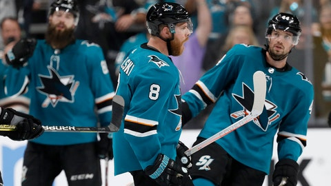 <p>               San Jose Sharks center Joe Pavelski (8) celebrates with teammates after the Sharks defeated the Colorado Avalanche in Game 7 of an NHL hockey second-round playoff series in San Jose, Calif., Wednesday, May 8, 2019. (AP Photo/Josie Lepe)             </p>
