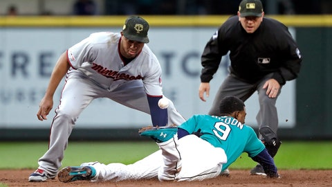 <p>               The ball pops away from Minnesota Twins second baseman Jonathan Schoop, left, as Seattle Mariners' Dee Gordon steals second base during the third inning of a baseball game Friday, May 17, 2019, in Seattle. (AP Photo/Elaine Thompson)             </p>