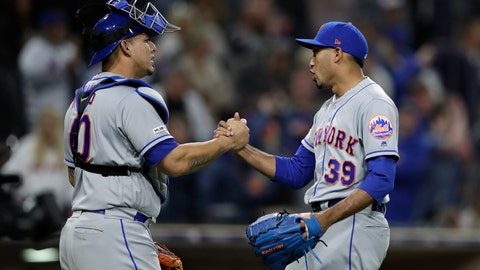 <p>               New York Mets relief pitcher Edwin Diaz, right, celebrates with catcher Wilson Ramos after the Mets defeated the San Diego Padres 7-6 in a baseball game Tuesday, May 7, 2019, in San Diego. (AP Photo/Gregory Bull)             </p>