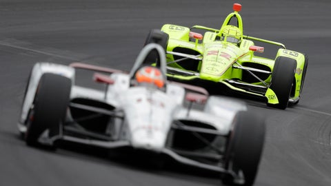 <p>               Simon Pagenaud, of France, follows Santino Ferrucci into turn one during practice for the Indianapolis 500 IndyCar auto race at Indianapolis Motor Speedway, Monday, May 20, 2019, in Indianapolis. (AP Photo/Darron Cummings)             </p>