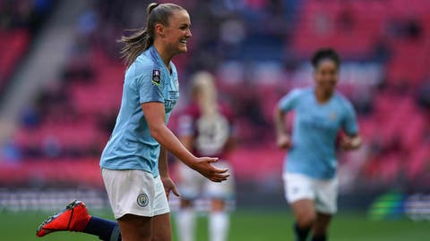 <p>               Manchester City's Georgia Stanway celebrates scoring against West Ham during the Women's FA Cup Final at Wembley Stadium, London, Saturday May 4, 2019. (John Walton/PA via AP)             </p>