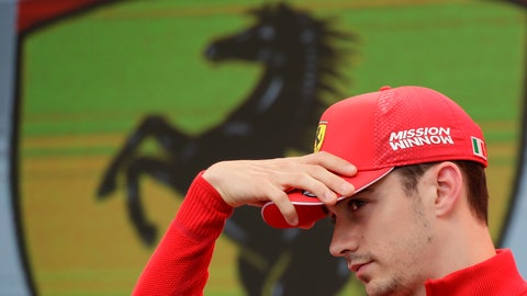 <p>               Ferrari driver Charles Leclerc of Monaco gestures during an autographs session at the Monaco racetrack, in Monaco, Friday, May 24, 2019. The Formula one race will be held on Sunday. (AP Photo/Luca Bruno)             </p>