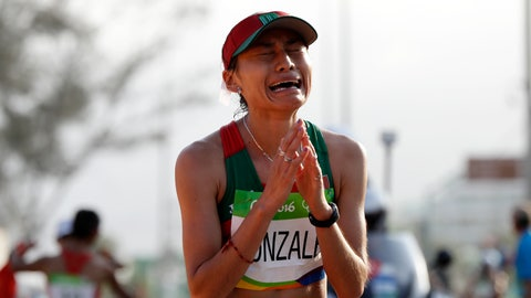 <p>               FILE - In this Friday, Aug. 19, 2016 file photo, Maria Guadalupe Gonzalez of Mexico, reacts after crossing the finish line in second place in the women's 20-km race walk at the 2016 Summer Olympics in Rio de Janeiro, Brazil. Olympic silver medalist race walker Maria Guadalupe Gonzalez has been banned for four years for doping with anabolic steroids. The Athletics Integrity Unit, which prosecutes cases for the IAAF governing body, says the Mexican walker's ban took effect last Nov. 16, 2018. (AP Photo/Robert F. Bukaty, File)             </p>