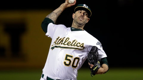 <p>               Oakland Athletics pitcher Mike Fiers works against the Cincinnati Reds during the first inning of a baseball game Tuesday, May 7, 2019, in Oakland, Calif. (AP Photo/Ben Margot)             </p>