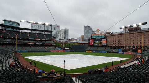 <p>               A sign advises that the baseball game between the Baltimore Orioles and the Tampa Bay Rays will be delayed by inclement weather, and a tarp covers the infield, Sunday, May 5, 2019, in Baltimore. (AP Photo/Tommy Gilligan)             </p>