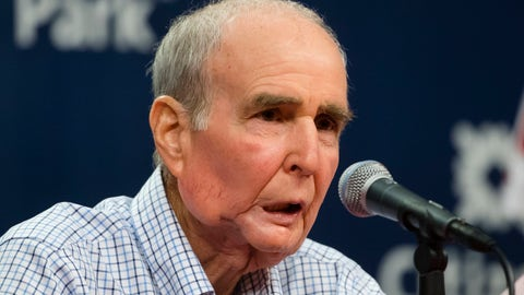 <p>               FILE - In this Aug. 7, 2017, file photo, Philadelphia Phillies Chairman David Montgomery speaks during a news conference in Philadelphia. The Philadelphia Phillies say the team's chairman has passed away after a lengthy battle with cancer. David Montgomery was 72. Montgomery's Phillies career began in 1971, working in the ticket office during the day and helping operate the scoreboard at night.  (AP Photo/Matt Rourke, File)             </p>