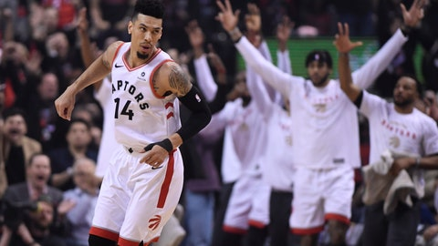 <p>               Toronto Raptors guard Danny Green (14) reacts after making a 3-pointer against the Golden State Warriors during the first half of Game 1 of basketball's NBA Finals, Thursday, May 30, 2019, in Toronto. (Frank Gunn/The Canadian Press via AP)             </p>