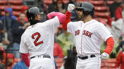 <p>               Boston Red Sox's Xander Bogaerts, left, welcomes home J.D. Martinez, right, after Martinez hit a homerun off a pitch by Seattle Mariners' Marco Gonzales during the first inning of a baseball game at Fenway Park, Sunday, May 12, 2019, in Boston. (AP Photo/Steven Senne)             </p>