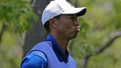 <p>               Tiger Woods reacts on the eighth hole during the first round of the PGA Championship golf tournament, Thursday, May 16, 2019, at Bethpage Black in Farmingdale, N.Y. (AP Photo/Seth Wenig)             </p>