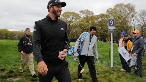 <p>               Dustin Johnson walks off the ninth green during a practice round at the PGA Championship golf tournament, Tuesday, May 14, 2019, in Farmingdale, N.Y. (AP Photo/Julie Jacobson)             </p>
