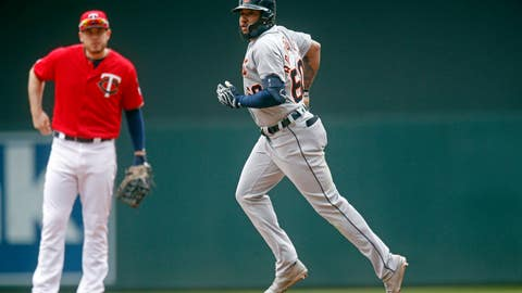 <p>               Detroit Tigers' Ronny Rodriguez rounds the bases after hitting a solo home run off Minnesota Twins pitcher Michael Pineda in the fourth inning of a baseball game Saturday, May 11, 2019, in Minneapolis. Rodriguez also homered in the second inning. (AP Photo/Jim Mone)             </p>