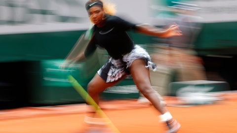 <p>               Serena Williams of the U.S. plays a shot against against Japan's Kurumi Nara during their second round match of the French Open tennis tournament at the Roland Garros stadium in Paris, Thursday, May 30, 2019. (AP Photo/Pavel Golovkin)             </p>